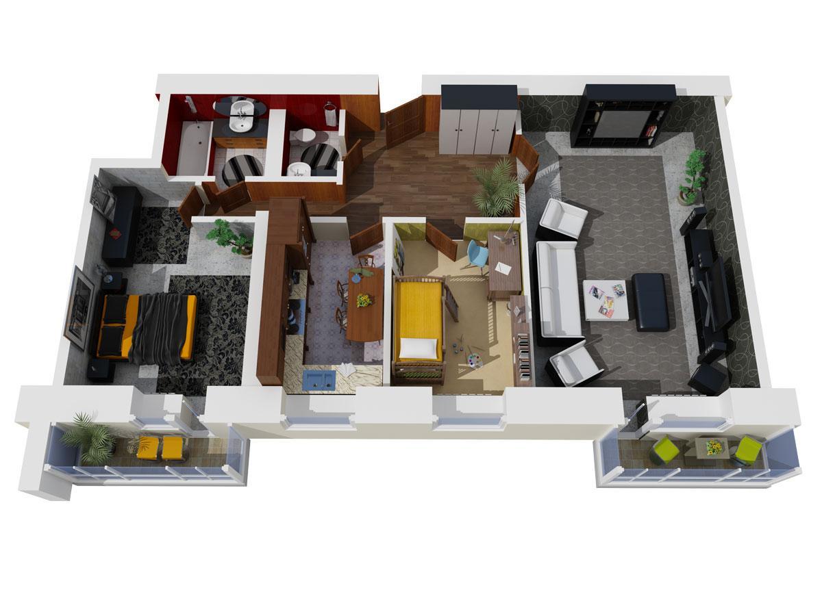 Планировка 3х квартиры 2х этажного дома 60 квм
